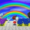 秋の空にかかる虹。